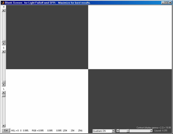 Blank Screen quadrants display