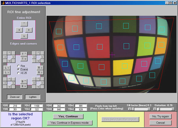 Cropping a highly distorted Colorchecker image