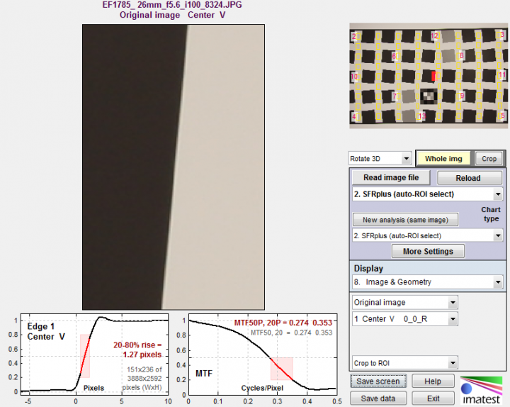 Edge image with Edge and MTF mesurements for comparision