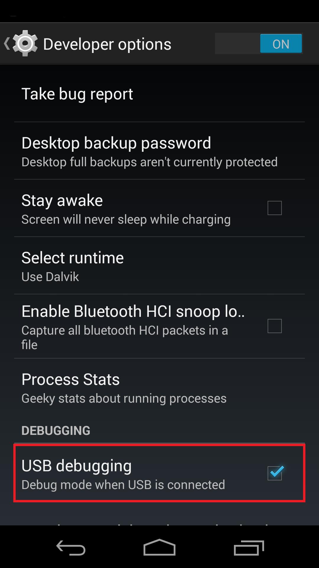 Android-EnableUSBDebug