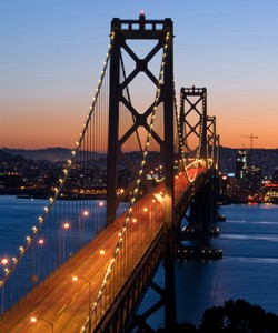 Bay Bridge, San Francisco at dusk. Shot from Yerba Buena Island.
