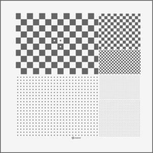 Micro Multi-slide chrome on glass checkerboard+dot pattern.