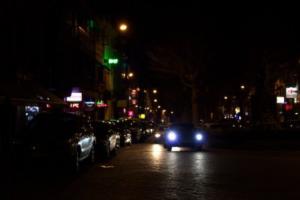 Low-light night lights street scenee