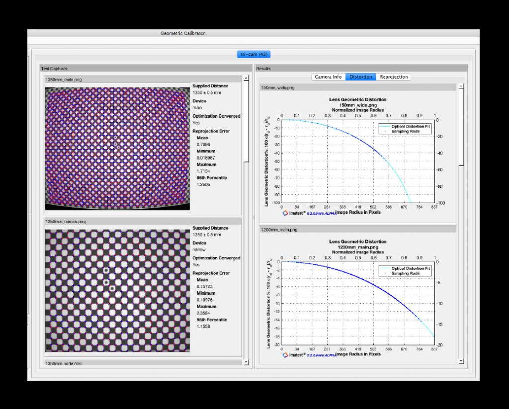 Imatest 5.1 - Geometric Calibration Screen