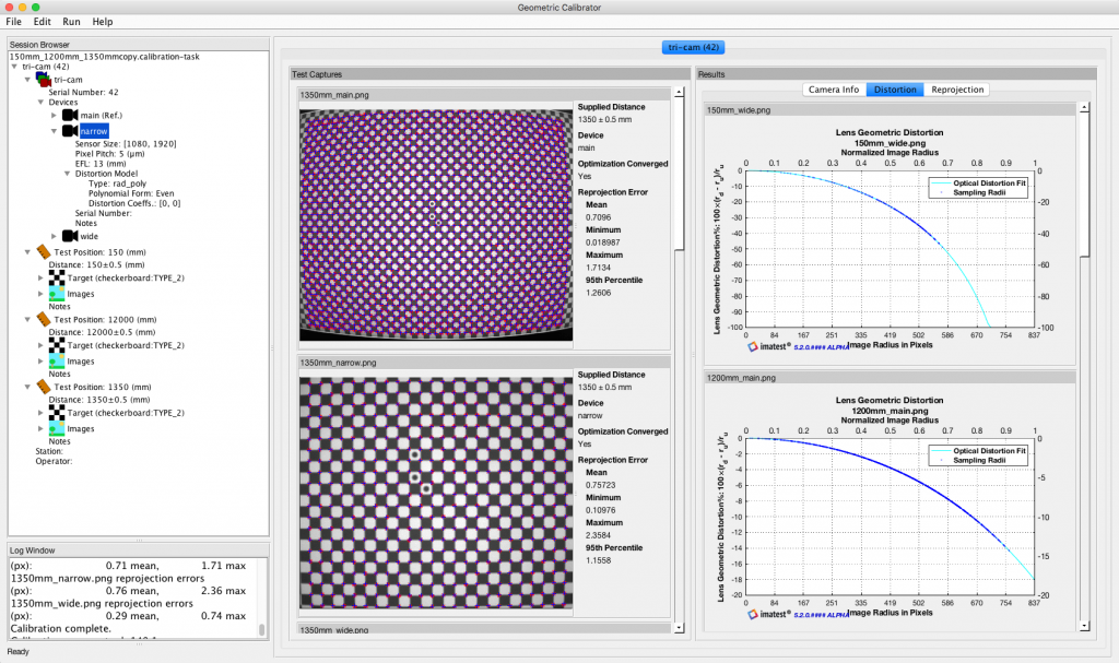 Screenshot of Geometric calibration GUI - Imatest Master and IT provide geometric calibration estimations for both individual and multi-camera systems with narrow and wide-field-of-view camera classes. The software uses a non-linear parameter estimation calibration procedure, acquiring evidence from a planar checkboard chart.