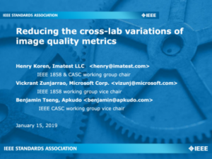 Presentation reducing the cross-lab variations of image quality